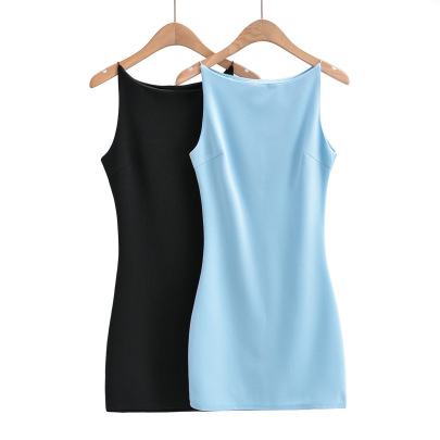 Flat-neck Rubber Band Suspender Dress NSAC62901