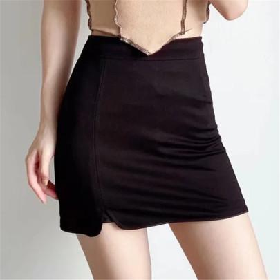 Solid Color Irregular Side Slit Skirt NSAC62902