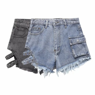 Small Pockets With Hollow Denim Shorts NSAC62904
