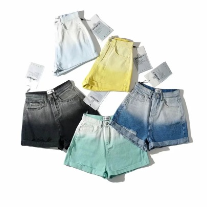 Retro Rolled-edge Frayed Wide-leg Denim Pants NSAC62906
