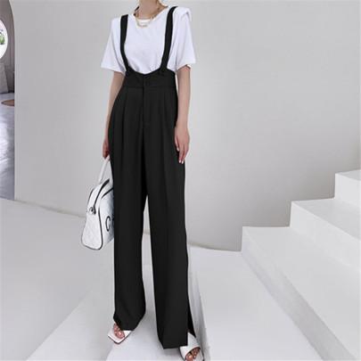High Waist Drape Side Slit Loose Loose Sling Pants NSAC62907