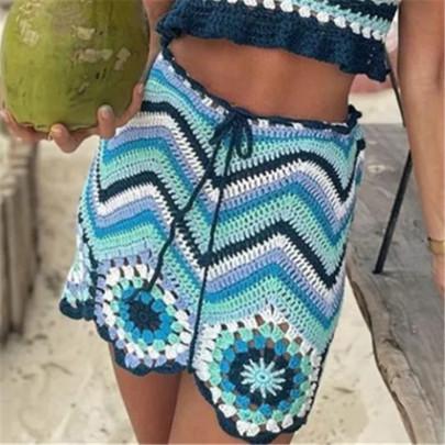 High Waist Stitching Contrast Color Skirt NSAC62911