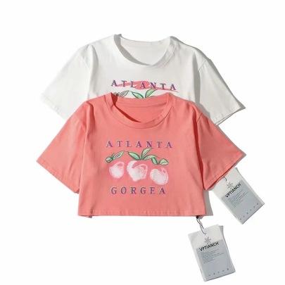 Retro Peach Print Short T-shirt NSAC62912