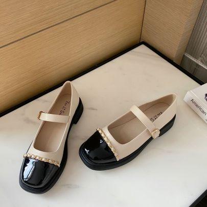Fashion Splicing Leather Flats NSCA62916