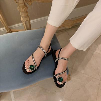 Fashion Rhinestone Back Empty Flat Sandals NSCA62920