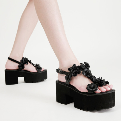 Flower Decor Platform Roman Shoes NSCA62925