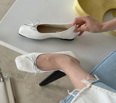 Fashion Bow Lace Decor Low Top Flats NSCA62927