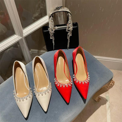 Fashion Pearl Decor Pointed Heels  NSCA62930