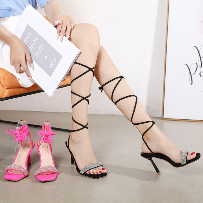 Fashion Leg Tie Solid Color Heeled Sandals NSCA62932