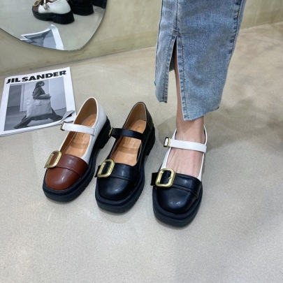 Fashion Splicing Leather Buckle Flats NSCA62934