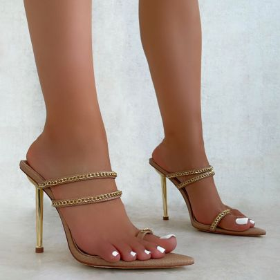 Metal Chain Pointed Heeled Sandals NSCA62936