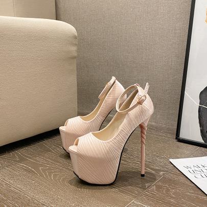 Retro Satin Ankle Strap Heeled Sandals NSCA62938