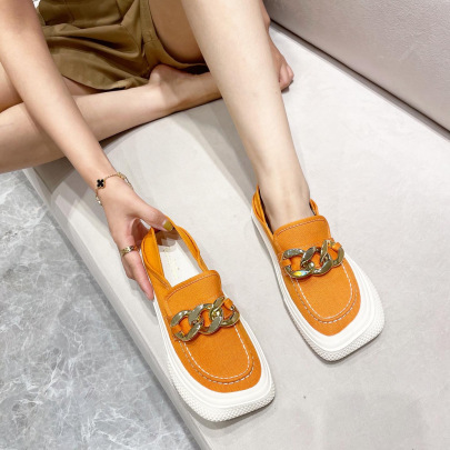 Fashion Chain Decor Square Toe Flats NSCA62943