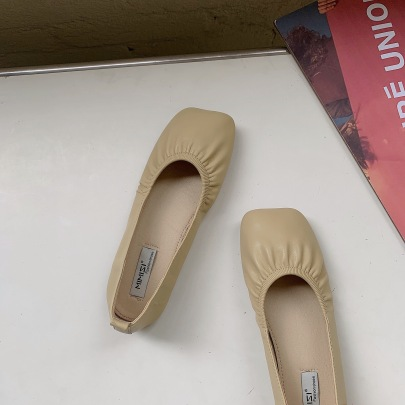 Fashion Ruched Leather Plain Color Flats NSCA62944