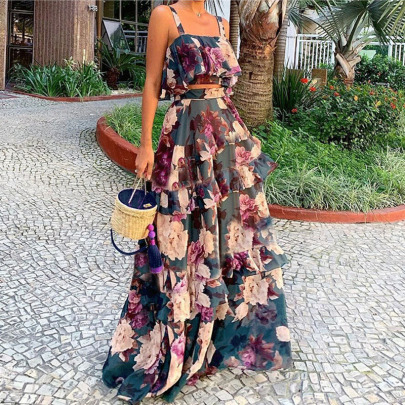 Spring And Summer New Sling High Waist Sleeveless Backless Dress NSYIS63063