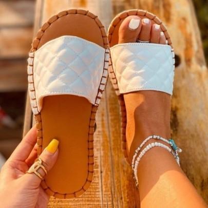 Embosing Flat Open Toe Slippers NSYUS63067