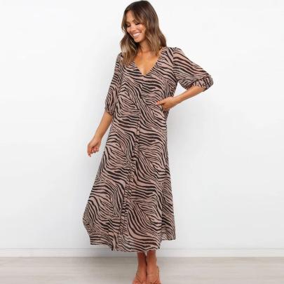 V-neck Middle-sleeve Loose Big Swing Print Dress  NSYD62958