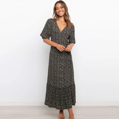 Deep V Short-sleeved Waist Printing Large-length  Long Dress  NSYD62961