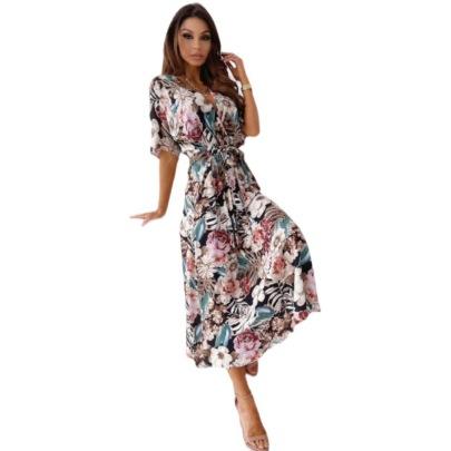 V-neck Mid-sleeve Printing Waist Tie-up Dress  NSYD62962