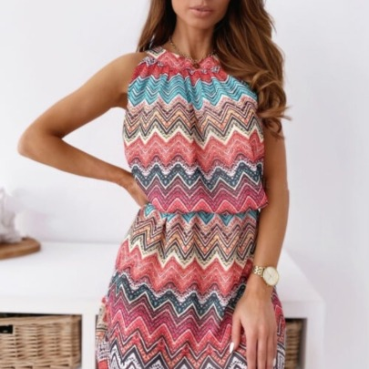Half High Neck Sleeveless Elastic Waist Printed Short Dress  NSYD62963