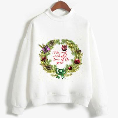 New Merry Christmas Greetings High Neck Long Sleeve  Sweater NSYKD62970