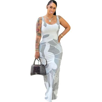 Sexy Print Sling Slim Long Dress NSSJW63030