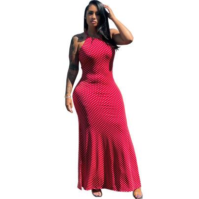 Sexy Halter Round Neck Printed Two Sides Split Long Dress  NSSJW63035