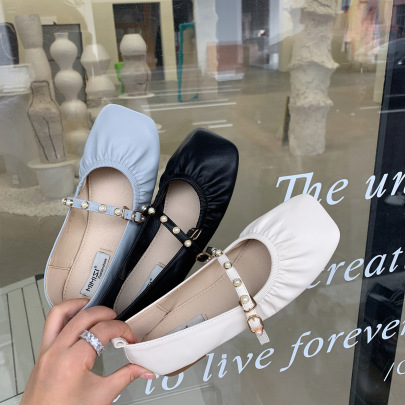 Spring New Thick-heeled Low-heeled Square Toe Shoes NSCA63037