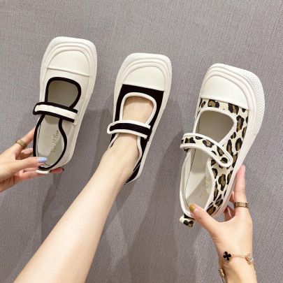 Flat-bottomed Velcro One-word Buckle Casual Shoes NSCA63038