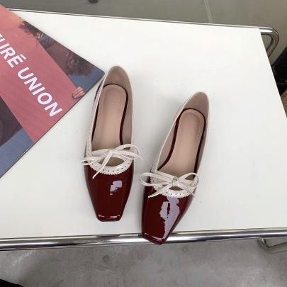 Leather Square Toe Flat Shoes NSCA63039