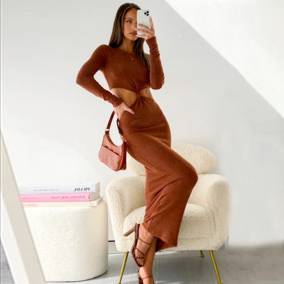 Fashion Solid Color Bodycon Dress NSFLY63084