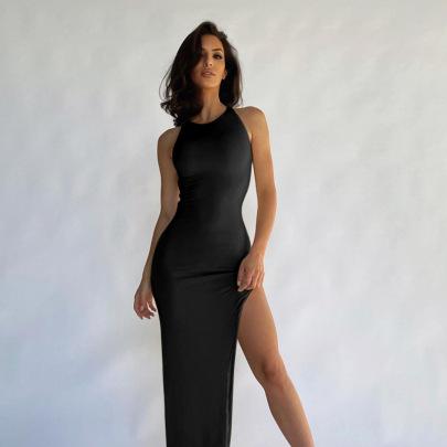 Sexy Hollow Open Back Slim Split Long Dress NSFLY63087