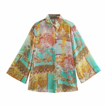 Wholesale Summer Patchwork Drape Blouse NSAM63105