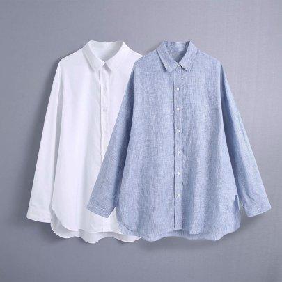 Wholesale Summer Linen Loose Blouse NSAM63111