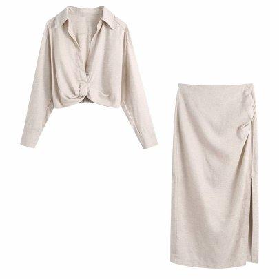 Wholesale Summer Pleated Decorative Linen Blouse NSAM63115