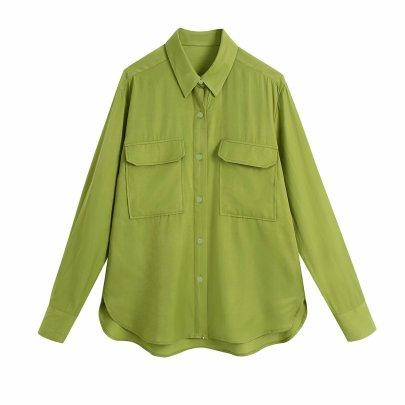 Wholesale Summer Pocket Draped Blouse NSAM63117