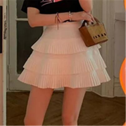 Fashion White Layer Ruched Short Skirt NSAC63128