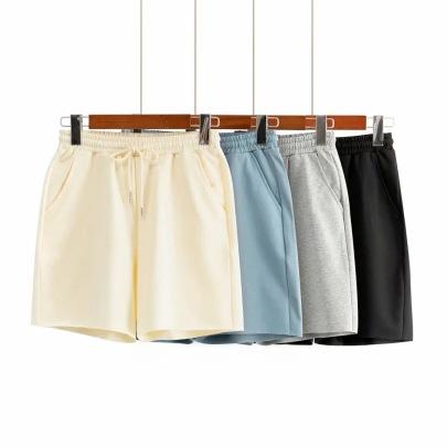 Loose Thin Straight High Waist Elastic Tie Wide Leg Shorts NSAC63131