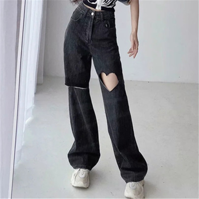 High Waist Hole Loose Wide Leg Washed Retro Straight Mopping Jeans NSAC63134