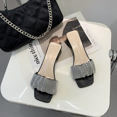 Thick-heeled Mid-heel Simple One-word Slippers NSYUS63344