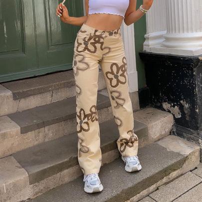 Summer New Fashion Slim Flower Printed Straight Jeans NSLQ63180