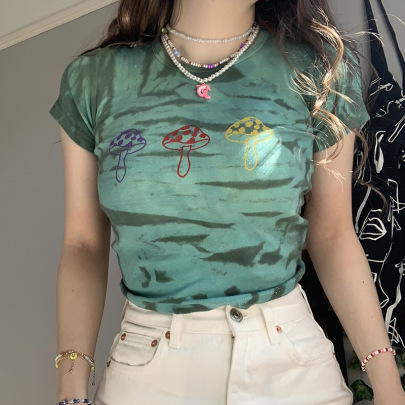New Slim Fit Color Print Short Umbilical Short-sleeved T-shirt NSLQ63181
