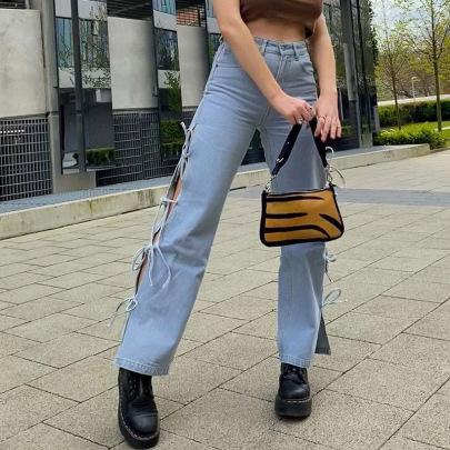 Summer New Fashion Split Butterfly Tie Jeans NSLQ63185