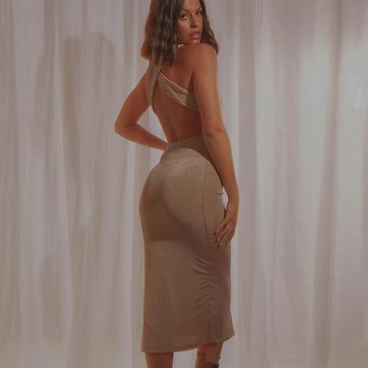 Summer New Simple Sexy Fashion Sleeveless Mid-length Skirt NSFD63202