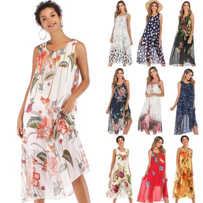 Hot Sale Loose Chiffon Floral Round Neck Vest Suspender Dress NSYYF63207