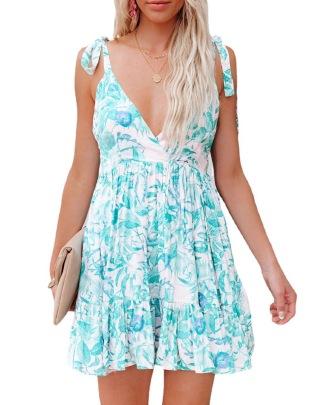 New Printing Deep V Sling Backless Sexy Dress NSYD63314