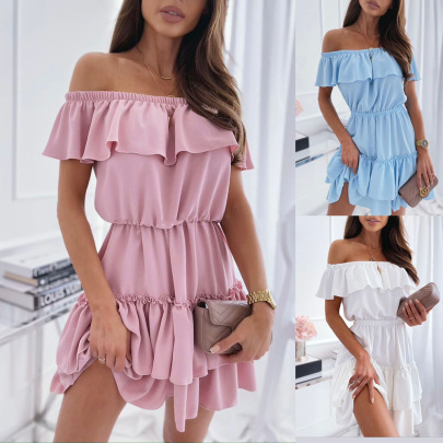 Summer New Style Fashion Strapless Ruffled Pleated Solid Color Dress NSYD63318