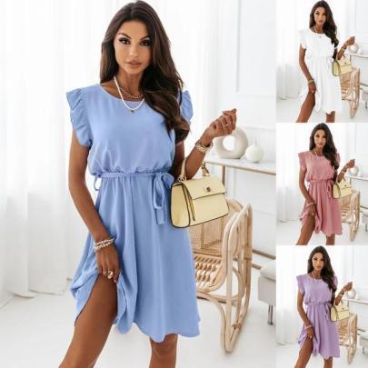 Summer Color Waistband Round Neck Ruffle Sleeve Loose Large Swing Dress NSYD63320