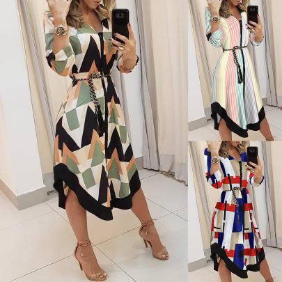 New Check Print Tie Dress NSYD63321