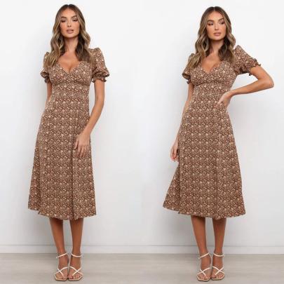 Summer Print Sexy V-neck High Waist Puff Sleeve Dress NSYD63322